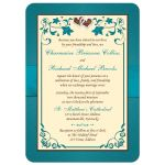 Teal green, chocolate brown, and cream floral wedding invitations with ribbon, bow, glitter, jewels, joined hearts, and decorative scrolls.