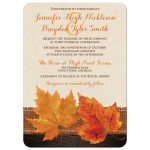 Rustic burlap and wood autumn maple leaves wedding invitations in cream, orange, yellow, gold, and brown.