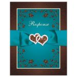 Brown, teal, and cream floral wedding RSVP response reply enclosure card insert with ribbon, bow, glitter, jewels, joined hearts, and decorative scrolls.