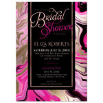 Pink and Gold Swirl Marble Bridal Shower Invitation