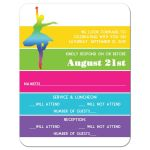 ​Modern dance, dancer, ballet Bat Mitzvah RSVP reply response enclosure card insert with neon stripes in yellow, lime green, hot pink, turquoise blue, and purple on a white background with dancers.