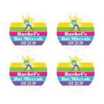 Dance, Dancer, Dancing theme Bat Mitzvah envelope seals or party favor stickers in yellow, hot pink, lime green, aqua blue, and purple with a rainbow colored dancer holding a dance pose with a yellow Star of David.