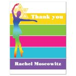 ​Modern dance, dancer, ballet Bat Mitzvah thank you note card with neon stripes in yellow, lime green, hot pink, turquoise blue, and purple on a white background with a dancer and Star of David.