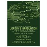 Green high tech computer circuit board graduation party invitation front