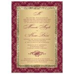 Monogrammed burgundy and gold glitter damask, ornate scrolls wedding invitation.