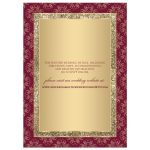 Monogram burgundy and gold glitter damask, ornate scrolls wedding invitation.