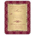 Burgundy and gold glitter damask, ornate scrolls wedding response reply RSVP enclosure card insert.