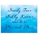 ocean waves and beach sand save the date