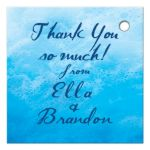 ocean waves and beach sand thank you gift tag