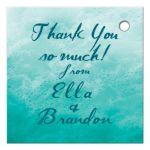 turquoise ocean waves and beach sand favor tag