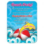 Unique beach Bat Mitzvah reception insert card with abstract waves, beach ball, and dolphin outline front