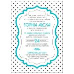 Chic black, white, turquoise polka dot Quinceañera birthday invitation front