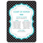 Chic black, white, turquoise polka dot Quinceañera birthday invitation back