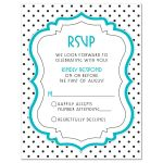 Chic black, white, turquoise polka dot Quinceañera birthday RSVP card front