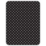 Chic black, white, turquoise polka dot Quinceañera birthday RSVP card back