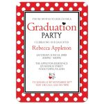 Graduation Party Invitations - Polka Dot Red and White
