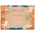 Teal turquoise blue, orange, and white beach theme Bat Mitzvah invitation with tropical flowers, wood, sand, sea shells, dolphin, crab. lobster, seagull, starfish, sand dollar, rope, and anchor.