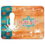 Teal turquoise blue, orange, and white beach theme Bat Mitzvah RSVP reply response enclosure card with tropical flowers, wood, sand, sea shells, squid, crab, lobster, starfish, sand dollars, rope, and anchor.