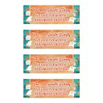 Personalized turquoise, teal, orange, and white tropical beach theme bat Mitzvah return address mailing labels with wood grain, sand, flowers, and sea shells.