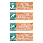 ​Personalized turquoise, teal, orange, and white tropical beach theme bat Mitzvah return address mailing labels with wood grain, sand, anchor, dolphin, crab, and starfish.