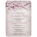 Graduation Invitations - Rustic Pink Cherry Blossom