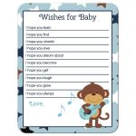 Rock Star Monkey Wishes For Baby Activity Baby Shower Game Card