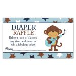 Rock Star Monkey Boy Baby Shower Diaper Raffle Card