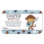 Rock Star Monkey Boy Baby Shower Diaper Raffle Card