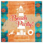 Teal turquoise blue, orange, and white beach theme beach party Bat Mitzvah reception or party invitation with tropical flowers, wood, sand, sea shells, lighthouse, sea gull, lobster, starfish, sand dollar, and rope frame.
