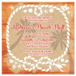 Turquoise blue, orange, and white beach theme beach party Bat Mitzvah reception or party invitation with tropical flowers, wood, sand, sea shells, lighthouse, sea gull, lobster, starfish, sand dollar, and rope frame.
