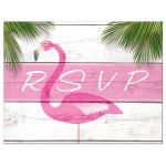 Cute Pink Flamingos Bat Mitzvah RSVP
