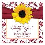 Yellow sunflower flower, burgundy and white floral damask and ribbon personalized wedding favor tag or gift tag back