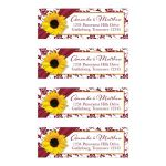 Yellow sunflower flower, burgundy and white damask floral and ribbon personalized wedding address labels