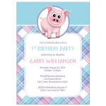 Birthday Party Invitations - Happy Pig Pink Blue and Purple Plaid
