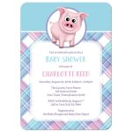 Baby Shower Invitations - Happy Pig Pink Blue and Purple Plaid