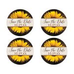 Round bright yellow gold sunflower on dark brown wood wedding save the date envelope seals or wedding favor stickers.