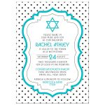 Chic black, white, turquoise polka dot Bat Mitzvah invitation front