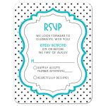 Chic black, white, turquoise polka dot Bat Mitzvah RSVP card front