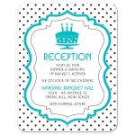 Chic black, white, turquoise polka dot Bat Mitzvah reception card front