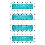 Chic black, white, turquoise polka dot Bat Mitzvah address labels