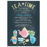 ​Colorful chalkboard tea party bridal shower invitation