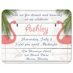 Coral Flamingo Bat Mitzvah Reception Invitations