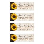 Personalized brown, tan, and yellow gold Sunflower on simulated wood grain pattern wedding return address labels.