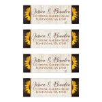 Personalized brown, tan, and yellow gold Sunflowers on simulated wood grain pattern wedding return address labels.