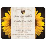 Sunflowers and wood grain watercolor wedding invitation with a watercolor heart.