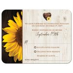 ​Sunflower and wood grain watercolor wedding response cards with a brown watercolor heart.
