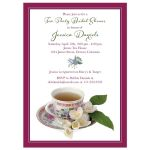 Vintage china teacup and jasmine flowers tea party bridal shower invitation front