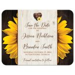 ​Yellow Gold Sunflowers and dark brown wood grain wedding save the date card with a watercolor heart and a photo template.