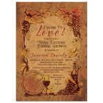 Rustic vineyard wine tasting bridal shower invitation front