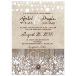 Country Western Wheel and Lace Wedding Invitation